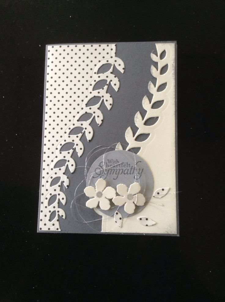 handmade Condoleance kaart .. gray and white .. luv how she used the leafy vine die cut .. Stampin' Up!