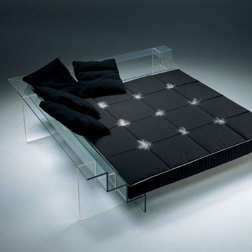 Futuristic Furniture, Glass Bed and Sofa by Santambrogio Milano