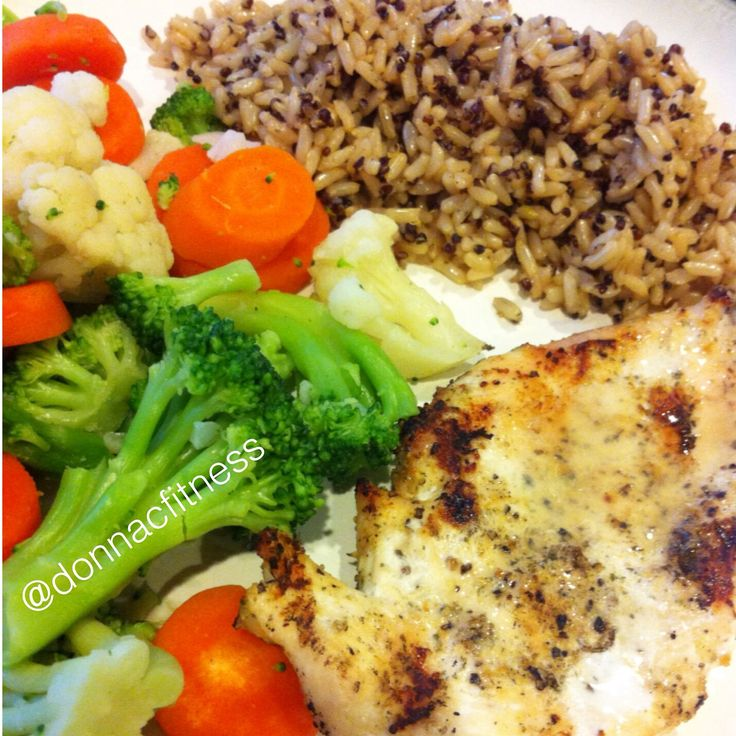 Grilled Chicken with mixed veggies and brown rice mixed with quinoa I ...