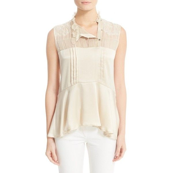 Women's Belstaff Julie Pintuck Silk Sleeveless Blouse ($695) ❤ liked on Polyvore featuring tops, blouses, capuccino, white sleeveless blouse, white pleated blouse, white silk blouse, sleeveless tops and silk ruffle blouse