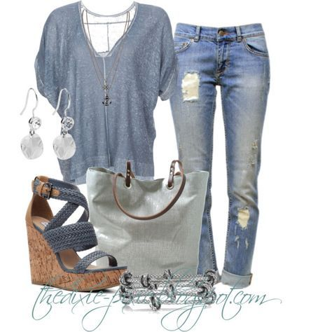 """Summer sweaters. Wedge sandals. Summer outfits. Fashion over 40. Boyfriend jeans."" by dixiepixie on Polyvore"