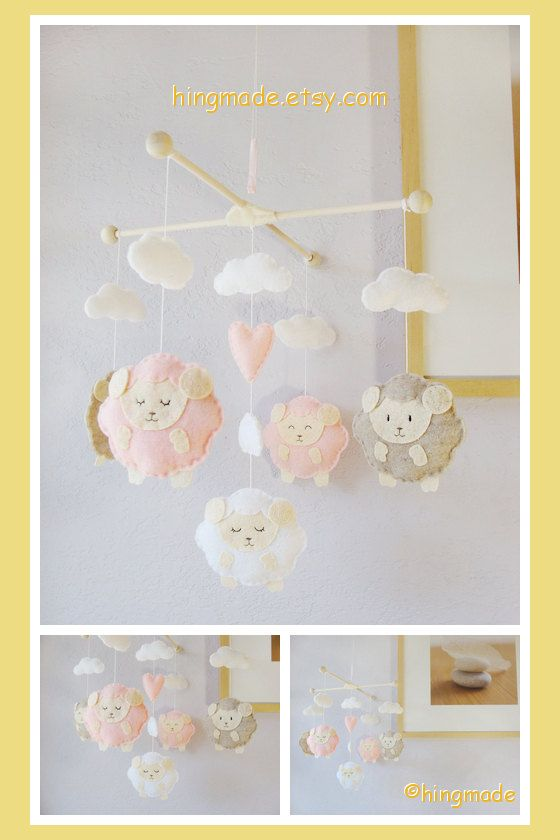 Baby Mobile - Baby Crib Mobile -  Sweet Lambie Mobile - Pink Sandstone White Sleepy Sheep theme(You can pick your colors) on Etsy, $98.00