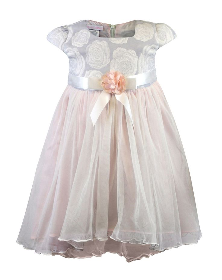 Bonnie Baby Baby Girls Floral Tulle High Low Dress - Baby Girl Easter Dress