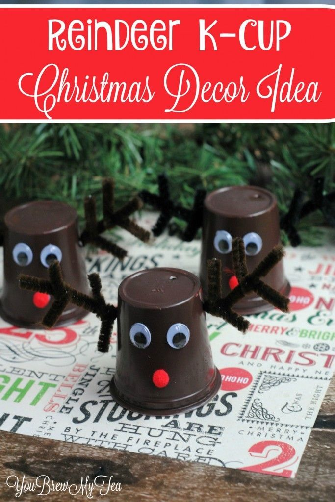 What a fun upcycle Christmas decoration! This Reindeer KCup Christmas Decor Idea is super cheap & easy to make!