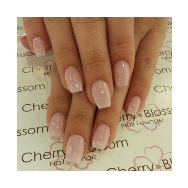 Short Coffin Nails with American Manicure ❤ liked on Polyvore featuring beauty products, nail care and nail treatments