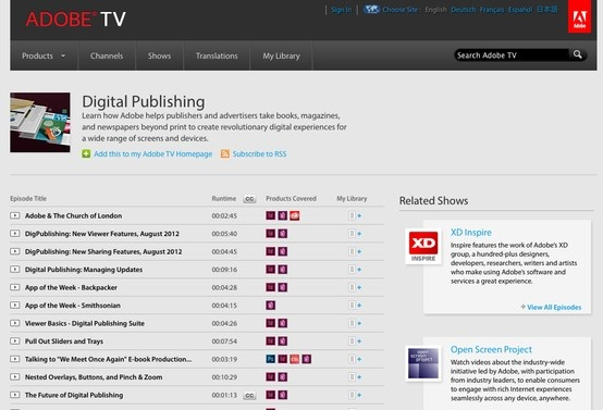 http://tv.adobe.com/show/digital-publishing/