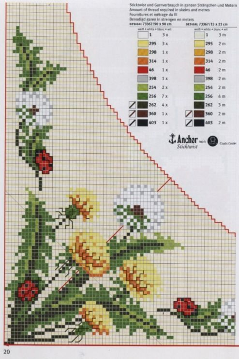 Cross-stitch Dandelions & Lady Bugs Corner section & Border, part 1...   Gallery.ru / Фото #26 - rico3 - vira-pagut
