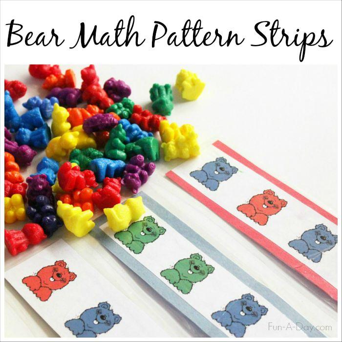 Bear Math Patterns - Free printable pattern strips for preschool and kindergarten