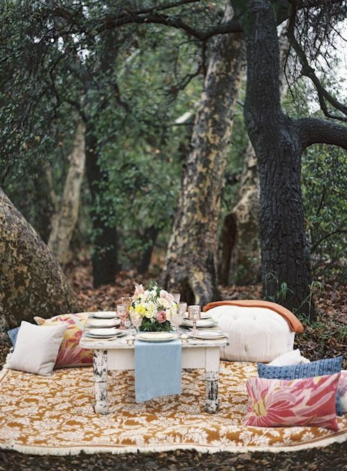 """Such a fun idea from Sterling Social in this outdoor bohemian """"Free People"""" style Bridesmaid lunch with Found Vintage Rentals, Casa De Perrin and Braedon Photography"""