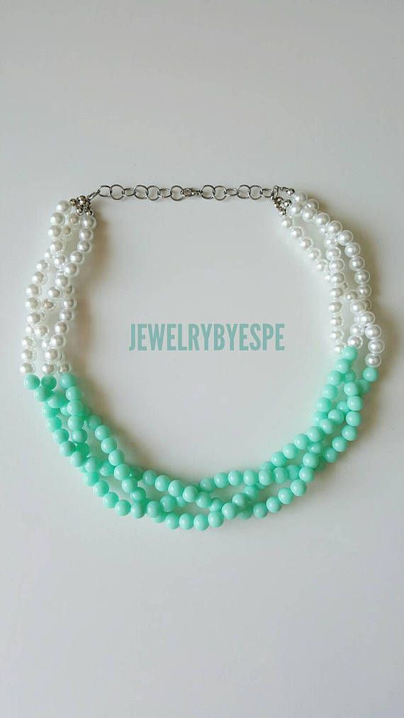 3 Strands Braided Mint Necklace with Pearls Includes small pearl earrings. Perfect for a Wedding Necklace is 21 long approx.