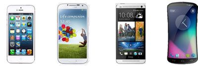 nexus 5 vs iphone 5 vs htc one vs galaxy s4.a battle to get the crown.