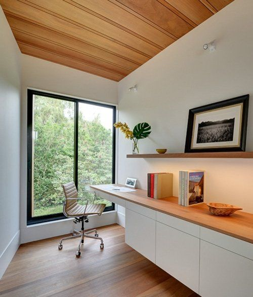 timber and white office