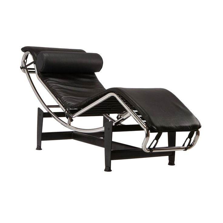 Chaise lounge chair in black leather for Black friday chaise longue