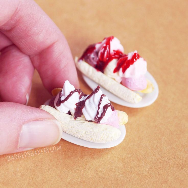 BANANA SPLIT Dollhouse Miniature, Doll Ice Cream, Blythe Food in 1/12 or 1/6 scale
