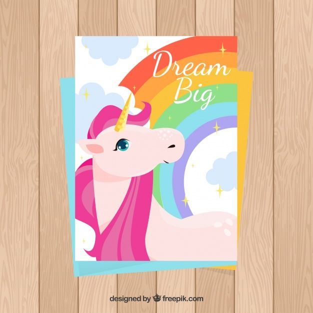 Colorful card with unicorn and rainbow Free Vector