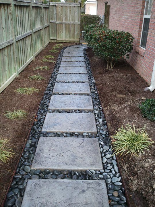 Beautiful concrete Pavers and river rock pathway