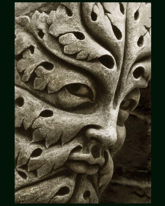 Bamberg Green Man, cast stone leaf face, greenman, Garden ornament, Renaissance element, medieval sculpture, Carved gothic corbel, Chalifour
