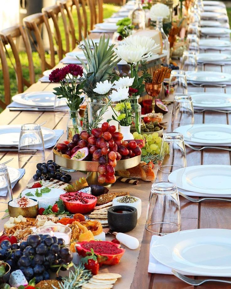 """Talk about a """"harvest"""" table! Why not use edible items to decorate your table, and if your guests don't mow down at the wedding, your breakfast the next morning will certainly be extravagant"""