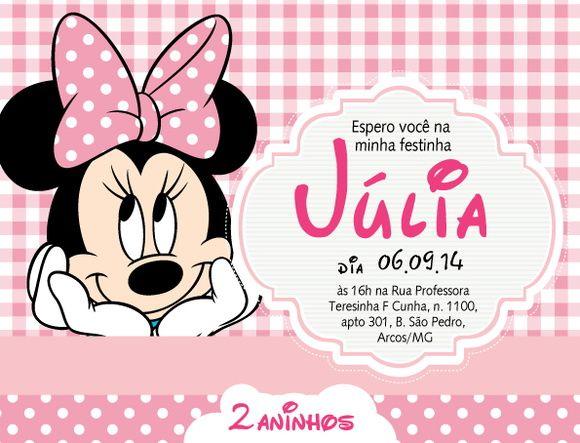 Convite virtual ou digital com o tema Minnie Rosa, ou vermelho, Disney para chá de bebê, nascimento, batizado, aniversário.    O convite virtual é um arquivo em resolução de tela, por email para ser enviado em redes sociais e whatsapp. arquivo em .jpg