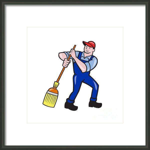 Janitor Cleaner Sweeping Broom Cartoon Framed Print By Aloysius Patrimonio