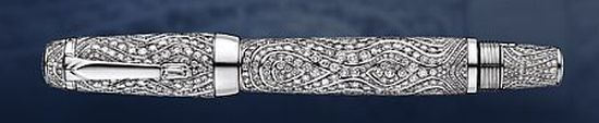 Most expensive writing instruments : Montblanc Boheme Royal Pen 18 carat white gold set with 1,430 brilliant cut diamonds.  $1,500,000