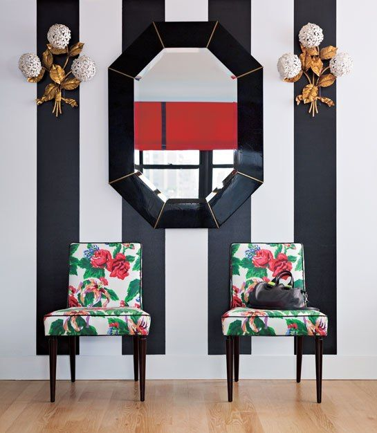 Suzanne and Lauren McGrath's Good Bones, Great Pieces : Architectural Digest: Floral Prints, Bold Stripes, Barry Benson, Chairs, Black And White, Design Interiors, Interiors Design, Design Bedrooms, Modern Home
