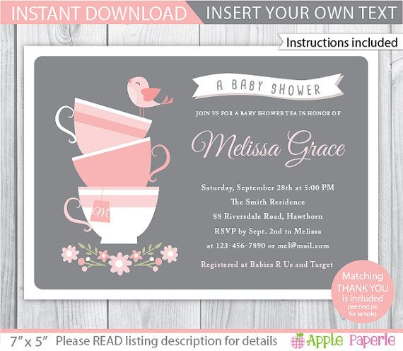 5 x 7 Invitation / INSTANT DOWNLOAD / TYPE IN YOUR OWN TEXT!!!    Personalize at home and print as many times as you like! Just open it in Adobe
