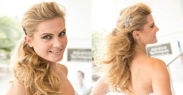 O segundo penteado, que prende apenas parte dos fios, é indicado para noivas que gostam dos fios soltos, mas querem um toque de requinte no grande dia