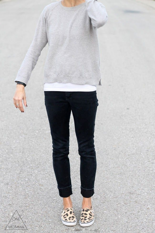 Comfy gray tee, black denim and leopard sneakers