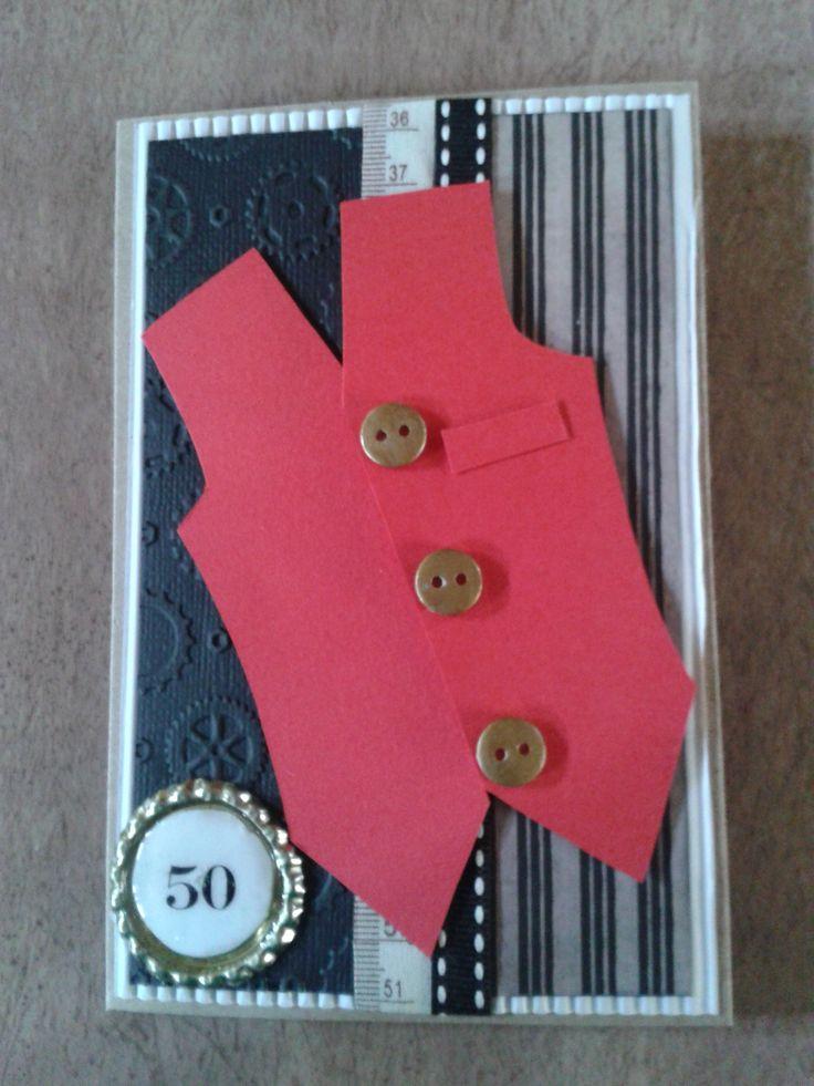 Waist Coat Card for 50th Birthday