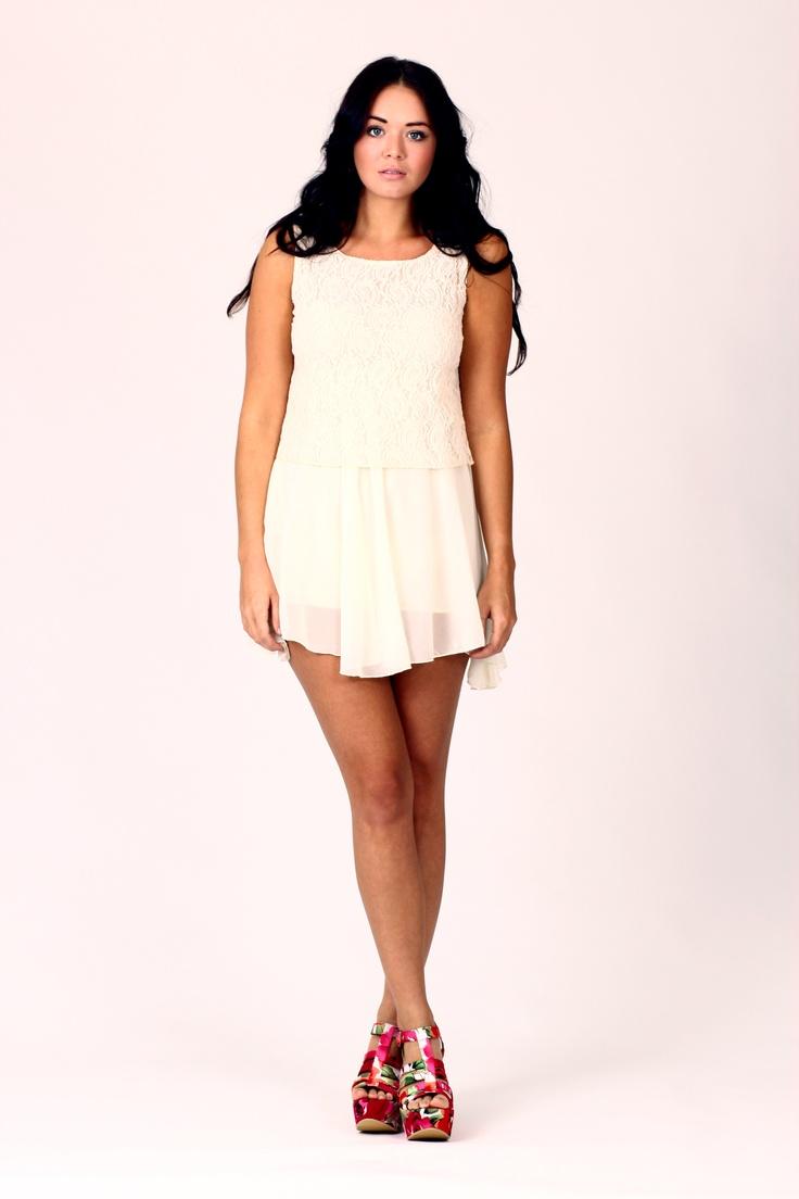 LARA Lace Block Mini Dress Cream