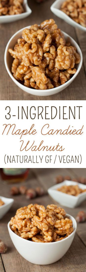These healthier maple candied walnuts couldn't be easier! They only take 3 ingredients and 5 minutes.