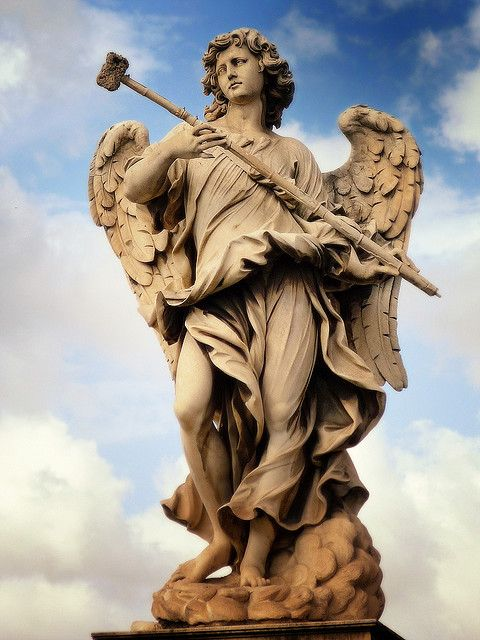 Angel statue at Castel Sant`Angelo in Rome, Italy.