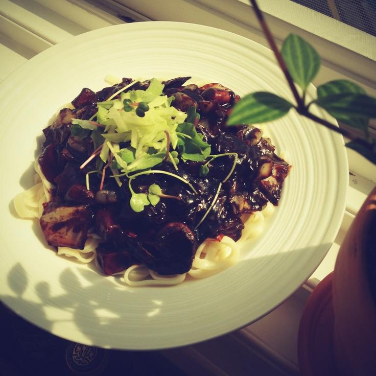 Jajangmyeon (black-bean-sauce noodles) by HoniBee. #Chinese food #noodle
