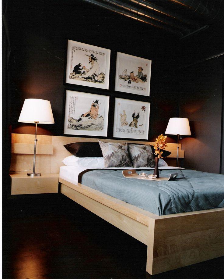 Studio loft design on King St. Custom-framed artwork, bed and bedding. #design #interiors #interiordesign #inspiration #designinspiration #Toronto