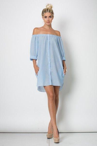 Off Shoulder Button Down Shirt Dress MSRP: $59.00 GLAM: $29.00  100%…