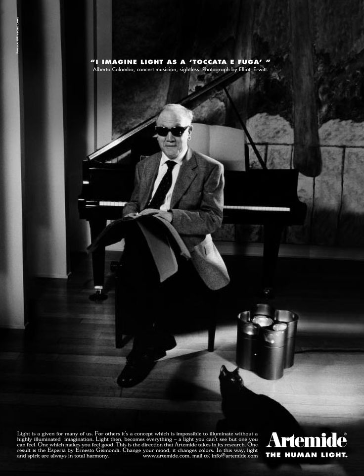 """I imagine light as a ""toccata e fuga"" Alberto Colombo, concert musician, sightless."". #TheHumanLight by Artemide, ADV campaign 1999 Photo by Elliott Erwitt Agency PIRELLA GOETTSCHE LOWE"