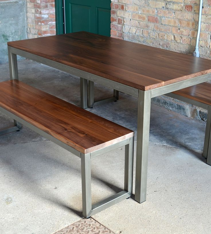 Edge Walnut Dining Set – Table & 2 Benches by Maple City Furniture on Scoutmob Shoppe. A walnut top + a clean, modern steel frame = the perfect everyday table.