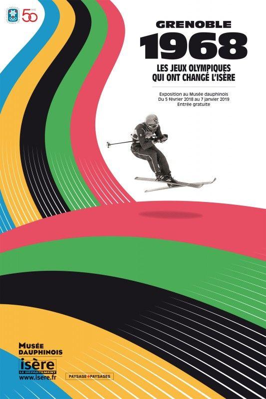 CHAMROUSSE - Jeux Olympiques 1968 : affiche exposition Musée Dauphinois Grenoble et muséobus Chamrousse