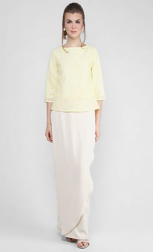 Kurung Kedah with Tulip Skirt in Yellow