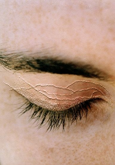 'Lashes 2'  From the series 'She carries it all like a map on her skin'  2005-2006  Type-C photograph face mounted on Perspex  80 x 58cm