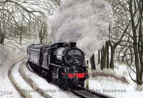 """62005 in Snow"" Drawing - A4 print £20 -  Please note that you are buying a Limited Edition print of my drawing, not the original    Prints will be signed, numbered and professionally mounted."