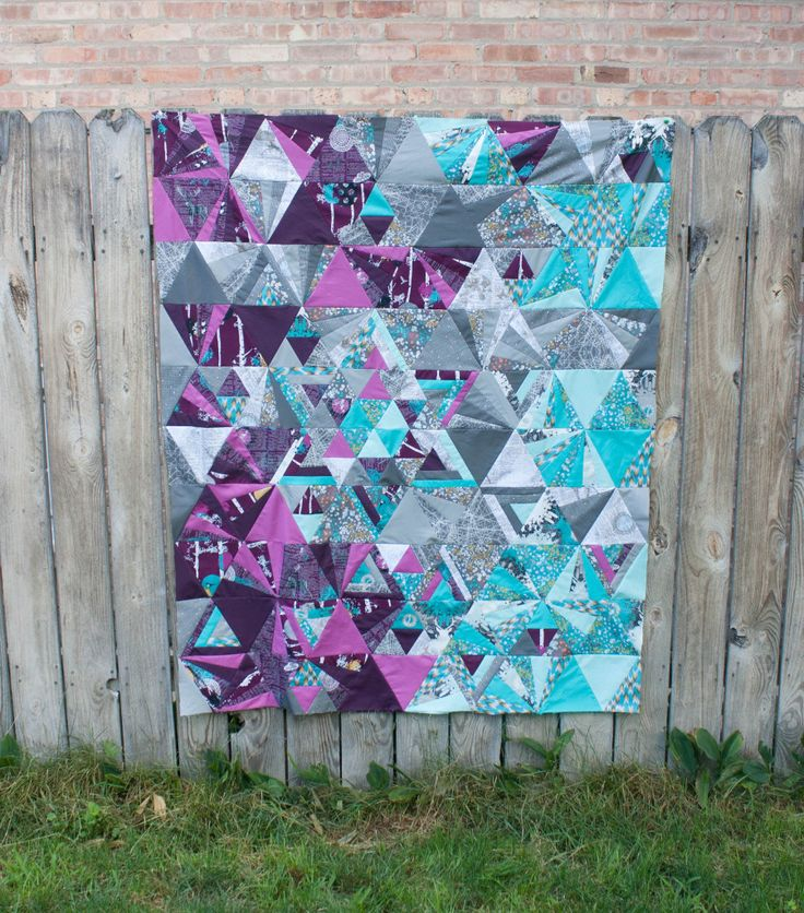 Tessellation Quilt Lavender purple aqua turquoise teal grey gray