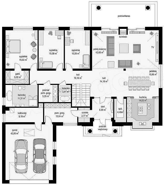 Prízemie plán projektu Villa Park 2