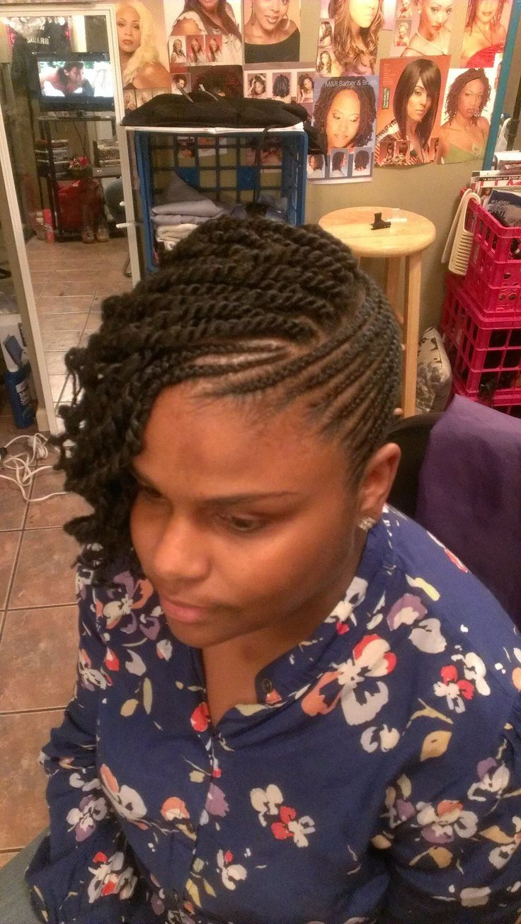 Natural twist updo with side bang and curl