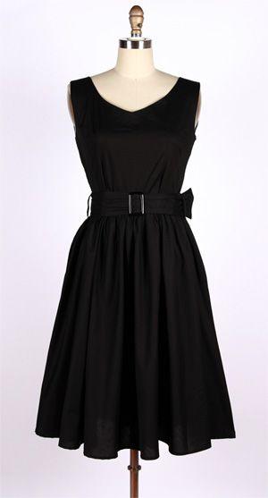50s vintage black swing bridesmaid dress.