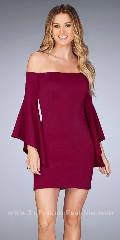 Define beauty and class in this stunning Fitted Off the Shoulder Bell Sleeve Cocktail Dress by La Femme. This super trendy style features a gorgeous off the shoulder neckline with draped bell sleeves and body hugging princess seam details. This style also includes a fitted silhouette with a center back invisible zipper for easy closure. #edressme