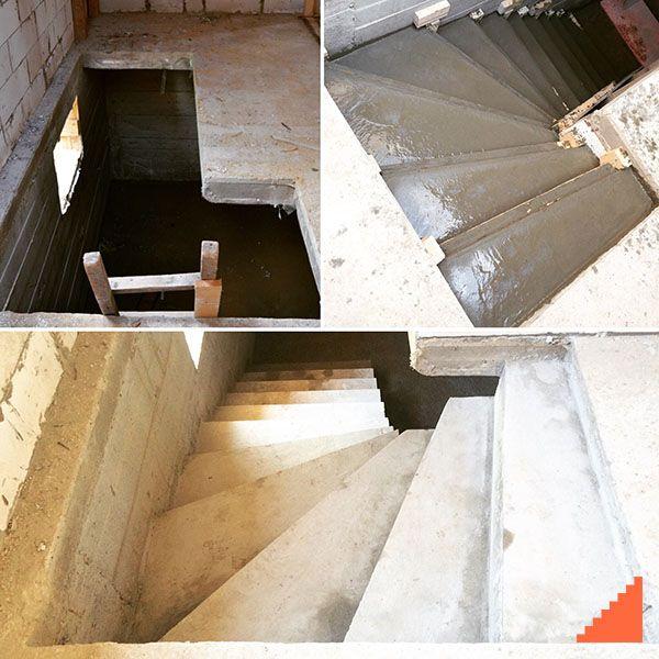 Дополнительно залили лестницу в д. Филиповское, Чеховского р-на. Г-образная лестница в подвал с плавным гладким дном. В ограниченном пространстве с низкими потолками был реализован вариант с максимально удобным шагом ступеней и исключена возможность встречи лба и плиты перекрытия при спуске. Кейс #builderssteps0001 Ждем разопалубку основной зеркальной лестницы на внешнем косоуре. #чехов #цоколь #подвал #лестница #бетоннаялестница #монолитнаялестница #стройка #строительство #прораб…