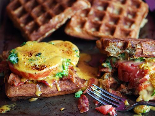 Welsh Rarebit on Beer Waffles with Bacon and Tomatoes...*drool*: Welsh Rarebit, The Mars, Recipe, Mary, Mars Sacasa, Beer Waffles, Bacon, Welsch Rarebit, Serious Eating