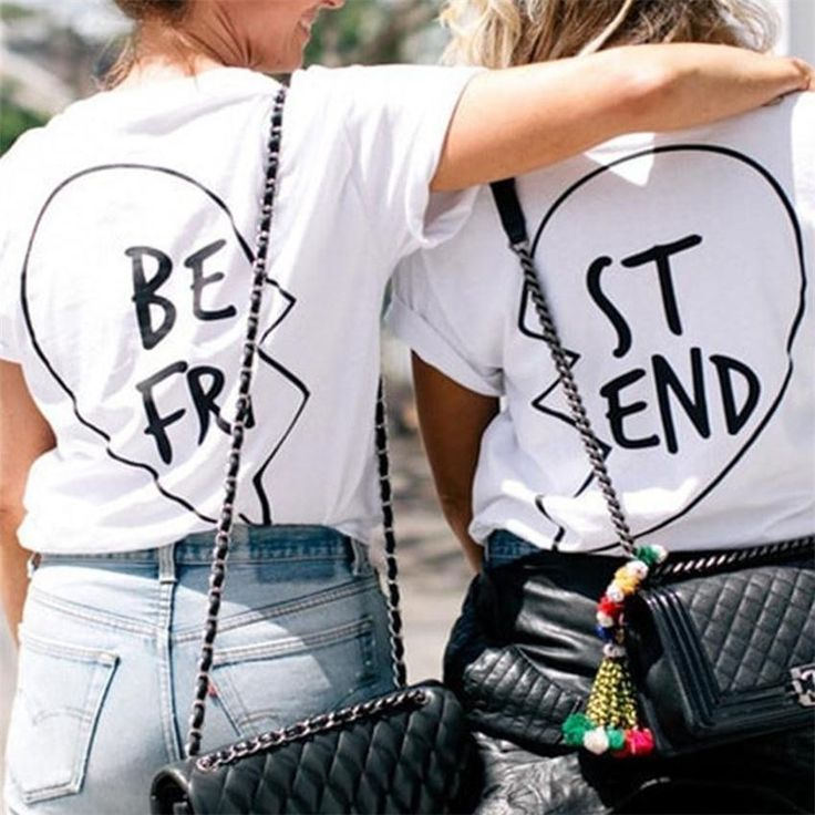 Best Friend Big Letter Print Scoop Top Tee